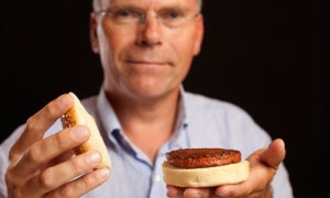 Dr Mark Post with his lab-grown hamburger