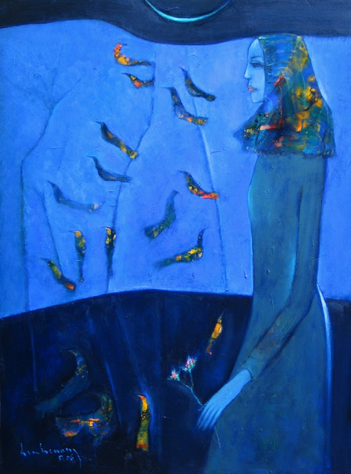 "Dạ Khúc chim 5/2006(Bird's evening song) Oil on canvas, 30""x40"""